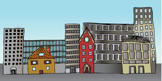 Constructions commerciales résidentielles illustration libre de droits