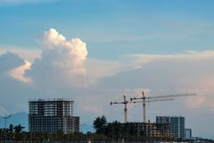 Constructions and cranes royalty free stock images