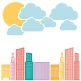 constructions de couleur avec l'icône de nuage et de soleil Images libres de droits