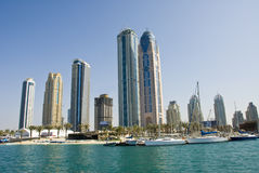 Constructions de marina de Dubaï Photos libres de droits