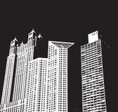 Constructions de ville la nuit Photo stock