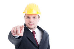Constructions employer or contractor pointing finger to the came Stock Image