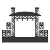 Constructions extérieures d'étape de concert avec l'icône de système de son Vecteur Photographie stock