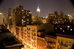 Constructions la nuit Photographie stock libre de droits