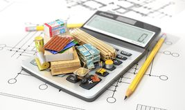 Constructions materials on calculator. Concept of calculation of costs of construction. 3d illustration Stock Photography