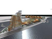 Constructions modernes de bord de l'eau Photo libre de droits