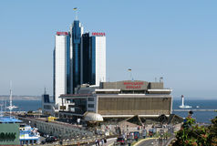 Constructions Odessa de port maritime Photos libres de droits