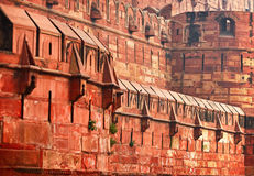 Constructions of old Indian Red Fort Royalty Free Stock Photos