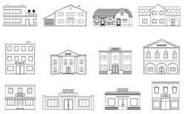 constructions réglées Cottages résidentiels, magasin, mail, bateau, musée, hôpital, bibliothèque, édifice bancaire d'isolement su illustration de vecteur