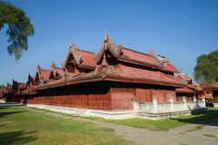 Constructions of the royal palace on a sunny afternoon. Mandalay, Myanmar Burma Stock Photo