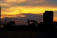 Constructions site silhouette sunset Royalty Free Stock Photography