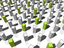 Constructions vertes et grises Photos libres de droits