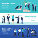 Constructive Business Confrontation Flat Banners Set Royalty Free Stock Photography