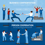 Constructive Business Confrontation Flat Banners Set Royalty Free Stock Photo