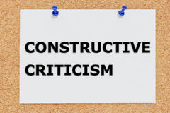Constructive Criticism concept. Render illustration of Constructive Criticism script on cork board Royalty Free Stock Image