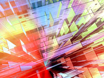 Constructive urban space 2. Dynamic dense mesh of colorful solids background Royalty Free Stock Photography