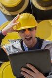 Constructor bajo tensión Imagen de archivo libre de regalías