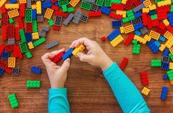 Constructor children`s toy. Selective focus Royalty Free Stock Photos