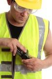 Constructor con el aparato de medición imagen de archivo libre de regalías