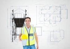 Constructor con el sombrero en la mano delante del andamio 3D libre illustration