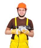 Constructor con el taladro Imagen de archivo libre de regalías