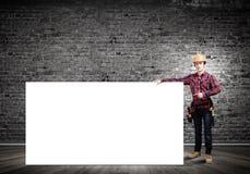Constructor con la bandera Imagen de archivo libre de regalías