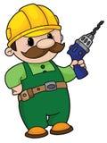 Constructor con un taladro Foto de archivo libre de regalías