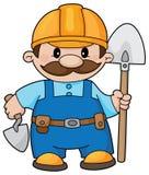 Constructor con una pala Foto de archivo libre de regalías