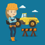 Constructor confidente con los brazos cruzados ilustración del vector