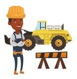 Constructor confidente con los brazos cruzados stock de ilustración