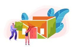 Constructor Construction Color Home del hombre y de la mujer Tejado de proceso de la instalaci?n en el edificio Capataz de la per libre illustration