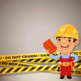 Constructor With Danger Tapes Imagen de archivo libre de regalías