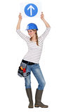 Constructor de sexo femenino en estudio Imagen de archivo