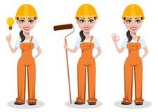 Constructor de sexo femenino hermoso en uniforme ilustración del vector