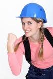 Constructor de sexo femenino impaciente Imagen de archivo libre de regalías