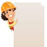Constructor de sexo femenino Looking en el cartel en blanco Imágenes de archivo libres de regalías