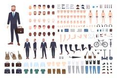 Constructor del hombre de negocios o equipo de DIY Sistema de las partes del cuerpo masculinas del oficinista o del vendedor, pos libre illustration