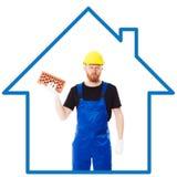 Constructor del hombre en el uniforme azul Imagen de archivo libre de regalías