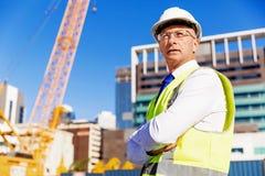 Constructor del ingeniero en el emplazamiento de la obra Fotografía de archivo libre de regalías