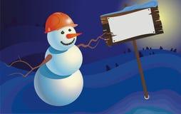 Constructor del muñeco de nieve del paisaje del invierno Fotos de archivo libres de regalías