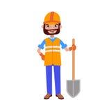 Constructor del trabajador del camino con el ejemplo del vector de la pala ilustración del vector