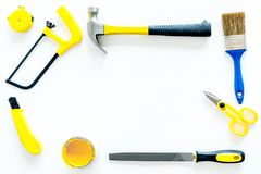 Constructor desk with set of building implements white desk background top view frame mock up Royalty Free Stock Photos