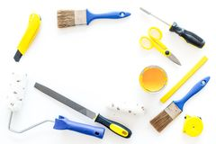 Constructor desk with set of building implements white desk background top view mock up Stock Photos