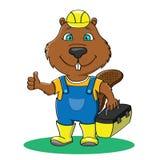 Constructor divertido del castor en el guardapolvo y el casco amarillo del trabajo que muestran t Fotos de archivo