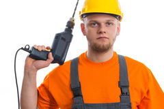 Constructor with drill. Isolated white background Stock Images