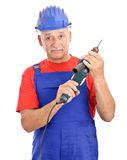 Constructor with electric drill Royalty Free Stock Photo