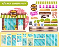 Constructor flat design city public pizza buildings with storefronts and different interior design elements. Vector set stock image