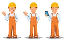 Constructor hermoso en uniforme Trabajador de construcción profesional Foto de archivo libre de regalías