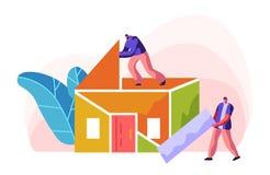 Constructor humano Construction Color Home Hombre en tejado de proceso de la instalaci?n en casa Capataz Carry New Part Material  ilustración del vector