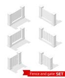 Constructor isométrico de la cerca y de la puerta Imagen de archivo